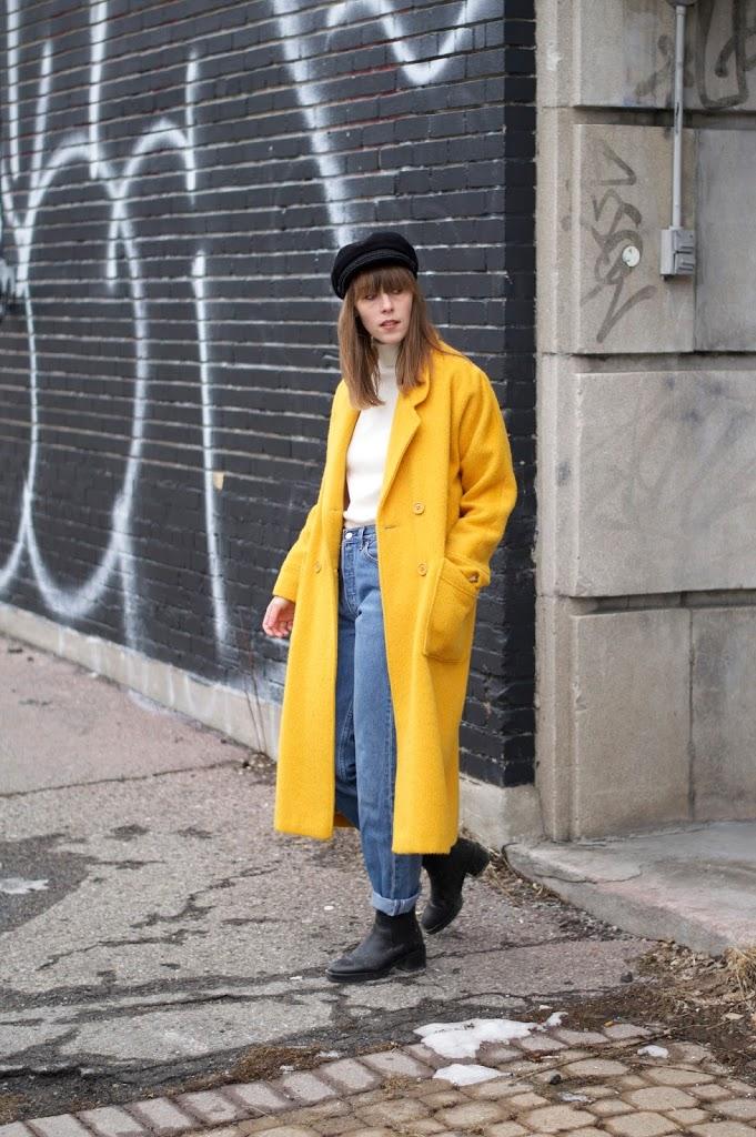 I'm wearing a yellow wool coat