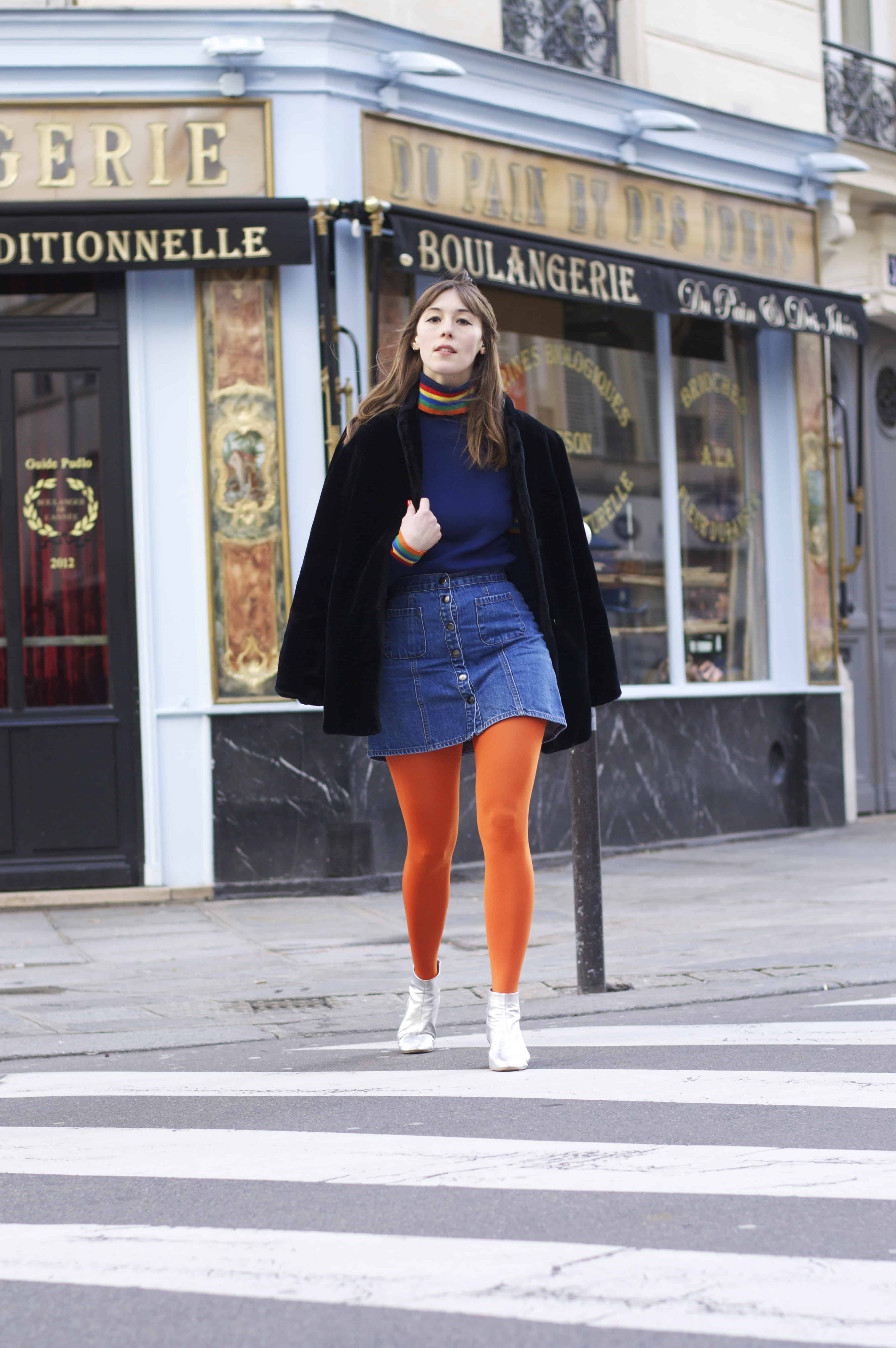 Being bold and confident wearing bold orange tights in Paris